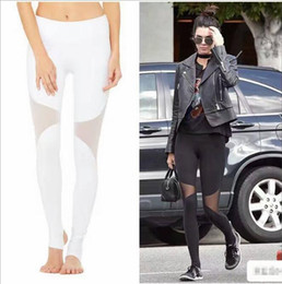polyester yoga pants 2019 - Yoga Pants High Waist Mesh Patchwork Tie Up Skinny Leggings Overlapping Stirrup Fitness dance pants Leggings FS5784 chea