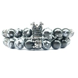 Wholesale CZ0026 Hot Sale Crown Charm Bracelet Natural Snowflake Stone Bracelet Energy Zircon Bead