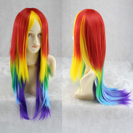 long hair anime 2020 - 70cm Long Synthetic Cosplay Rainbow Wig Dash Multi Color Heat Resistant Cosplay Party daily Soft Touch Hair Wig Peruca P