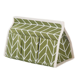 Chinese  Multifunction 6 Pockets Foldable Storage Box Cotton Linen Pumping Carton Tissue Box green manufacturers