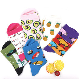 Cute Cartoon pairs online shopping - New Gift Box Winter Autumn Warm Women Socks Cute Colorful Cartoon Cute Food Milk Fruits Lovely Funny Socks Pairs