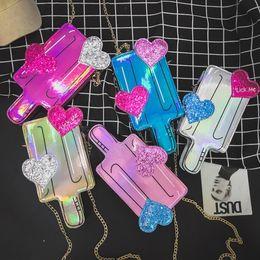 Gold mini baG online shopping - Laser Popsicles Bags Colors Pu Leather Mini Chain Shoulder Bag Handbag Crossbody Mini Messenger Bag Flap Kids Clutch Bag Handbag OOA5557