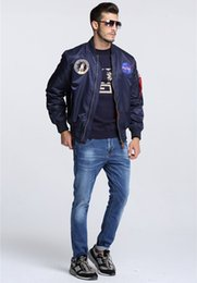 Discount navy bomber - New men's clothing spring Autumn thin NASA Navy flying jacket man varsity american college bomber flight jacket for