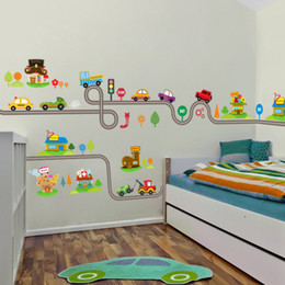 $enCountryForm.capitalKeyWord NZ - Cartoon Cars Highway Track Wall Stickers For Kids Rooms Sticker Children's Play Room Bedroom Decor Wall Art Decals