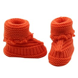 infants crocheted booties 2019 - Fashion Baby Snow Shoes Infant Crochet Knit Fleece Boots Bowknot Toddler Girl Boy Wool Crib Shoes Winter Warm Booties 0-