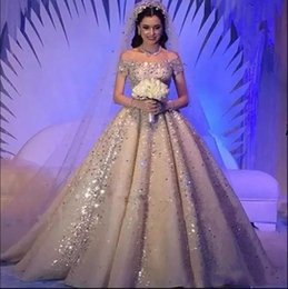 plus size off shoulder wedding dresses Australia - Luxurious Saudi Arabic Crystals Rhinestones A Line Wedding Dresses 2019 Plus Size Dubai Off-Shoulder Beaded Chruch Bridal Gowns Custom