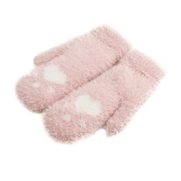 China 2018 Newly arrival kawaii style Winter Thickened Whole Covered Finger Mittens for Women Plush Gloves Fluffy Rabb ot23 supplier gloves for style men suppliers
