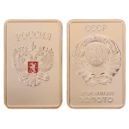 Russia Coin UK - Free Shipping 10Pcs, Collectible Russian map ingot bar 1 OZ 24K real gold plated badge 50 x 28 mm Russia souvenir coin