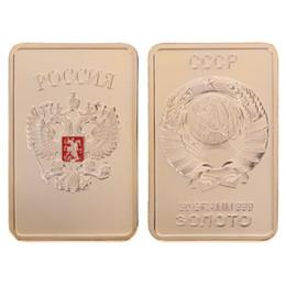$enCountryForm.capitalKeyWord UK - Free Shipping 10Pcs, Collectible Russian map ingot bar 1 OZ 24K real gold plated badge 50 x 28 mm Russia souvenir coin