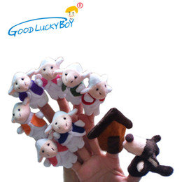 toy goats 2019 - 10PCS   Fairy Tale Wolf And The Seven Little Goats Finger Puppet Doll Baby Child Storytelling Early Childhood Educationa