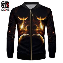 jacket space galaxy 2019 - OGKB Mens Casual Jackets New Harajuku 3d Galaxy Space Printed Jackets Man Full Zip Up Hiphop Outwear Fall Male Streetwea