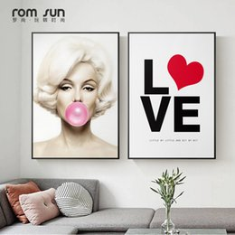 marilyn monroe art posters 2019 - Marilyn Monroe Blowing Bubbles Nordic Style Canvas Painting Art Wall Pictures For Living Room Home Decor HD Posters And