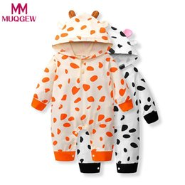 Toddlers Hooded Jumpsuits Australia - MUQGEW MUQGEW Jumpsuit Winter Autumn Newborn Infant Toddler Baby Boys Girls Cow Print Romper Jumpsuit Hooded Outfits Clothes