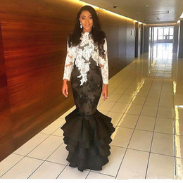 $enCountryForm.capitalKeyWord Australia - Mermaid White and Black Evening Dresses Long Sleeve Appliques Lace Ruffles Tiered Skirt Fashion Formal Party Gowns Custom Size