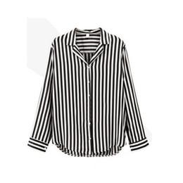 f3bd5b9d2cb8a ROPALIA Ladies Striped Trumpet Sleeves Long Shirt Women Regular Turn-down  Collar Long Sleeve Tops Striped Blouse