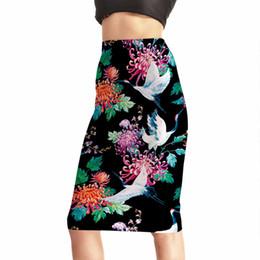 6281a4b5e3d 2018 Summer Summer New Vintage Retro Flower Print High Waist Skirt Black  Faldas Women pencil skirts Plus Size
