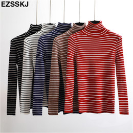 fdd2672da2ccb Autumn Winter Turtleneck striped Sweater Women Knit Casual Pullovers Long  Sleeve high Elasticity female Cashmere sweater basic S18100903