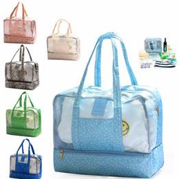 storage wet bag 2019 - Waterproof Grid Wet Dry Separation Storage Bag Women Travel Swimming Printed Organizer Beach Shoulder Hand Bag Large Cap
