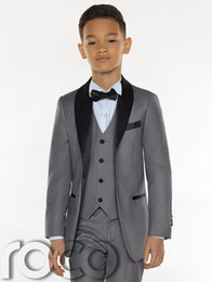 White boys suit satin lapels online shopping - Three Pieces Grey Boys Tuxedo Cheap Custom Made Boys Dinner Suits Boys Formal Suits Tuxedo for Kids Tuxedo Jacket pant vest tie