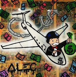 Airplane Art NZ - Handpainted & HD Print Alec Monopoly Banksy Modern Abstract Graffiti Pop Art Oil Painting Airplane On Canvas High Quality Wall Art g248