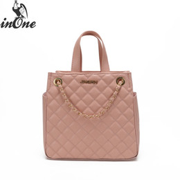 le diamonds NZ - INONE Ladies Hand Bags Women Messenger Shoulder Tote Bags Crossbody Quilted PU Leather Handbag Le Boy Diamond Lattice 2 Pockets
