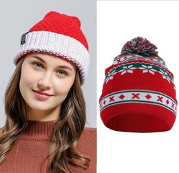 Costumes Parties Australia - New Winter Warm Santa Claus Hat Acrylic Knitted Patchwork Christmas Party Decor Cap Costume Apparel Accessories Xmas Gift
