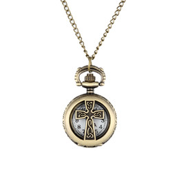 $enCountryForm.capitalKeyWord NZ - New Vintage Bronze Crucifix Cross Hollow Quartz Pocket Watch Necklace Pendant Women Men's Gifts LL@17
