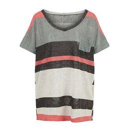a952c2dc8b0b2 2018 Summer New Women Loose T-Shirt Striped Short Sleeves V Neck Pocket  Elegant Casual Top Pullover Grey 5XL Oversized T shirt