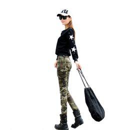 HigH waist camo pants online shopping - Spring Autumn Jeans Europe US Military Army fans Brave girls slim Camo Print Jeans Cotton Denim High waist pockets Ankle Length Pants