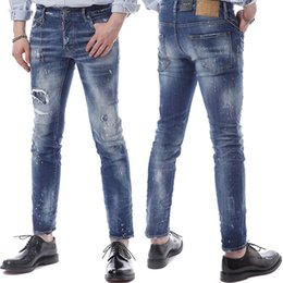 $enCountryForm.capitalKeyWord Canada - Men Cowboy Trousers US Euro Fashion Design Metal Match Chain Accent Damaged Jeans Skater Fit Rip Denim
