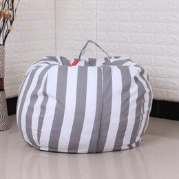 Kids Fabric Bags Australia - New Creative Modern Storage Stuffed Animal Storage Bean Bag Chair Portable Kids Clothes Toy Bags Stripe Fabric Chair