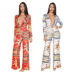 ac5c0a1e92ce S-3XL Fashion Gold Chain Print Plus Size Women Loose Jumpsuits Deep V Neck  Long Sleeve Wide Leg Pants Rompers Overalls
