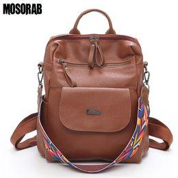 $enCountryForm.capitalKeyWord Canada - MOSORAB Vintage Retro Women Backpack School Colorful Strap Leather Bag School Backpacks For Teenage Girl Large Mochila Feminine Y18110202