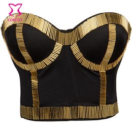 7af6fd6b979dd Punk Gold Tube Beads Soutien Gorge Push Up Bra Big Size Brasieres Women Bustier  Top Crop Sexy Bralette Clubwear Underwear Bras