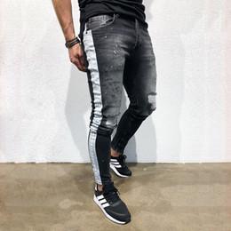 Denim Pants Men Skinny NZ - Men Slim Destroyed Side printed Ripped Biker Denim Pants Knee Holes Skinny Bottom zipper Cotton Men Casual Streetwear jeans