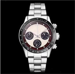 Опт Новый мужской хронограф Vintage Perpetual Paul Newman Японский кварц из нержавеющей стали Мужские мужские часы Наручные часы
