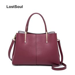 Ladies Briefcase Handbags NZ - LostSoul brand cow leather women Top-handle bags Simple tote business bag briefcase lady classic minimalist handbag shoulder bag