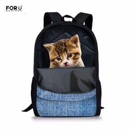 87de0c7149e Cat School Bag Backpacks NZ - FORUDESIGNS Teenagers School Bags Blue Denim  Cute 3D Animal Cat