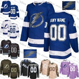 688eb6698 2018 Custom Tampa Bay Lightning men womens youth Blue White Black camo flat  usa Purple Personalized ice Hockey Jerseys Stitched S-3XL cheap usa hockey  ...