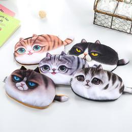 Dog Zipper Australia - Hot 3D Cute Animal Print Bag Animal Face Zipper Cat Dog Bag Storage Plush SMALL Tools Conllection Bag cartoon toys