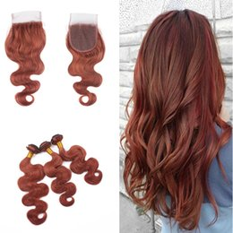 Discount colored 22 inch weave - Dark Auburn Brown Body Wave Hair 3Bundles With Lace Closure Blonde 33# Colored Virgin Hair Extension With Top Closure 4x