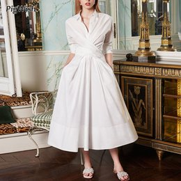 long batwing white dresses Canada - Casual Shirt Dress Women Elegant Turn-down Collar Long Sleeve White Spring Dresses Robe Femme