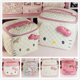 a01eb4259d Cute Cartoon Genuine Hello Kitty Cosmetic Bag Pu Makeup Bag Girls Cosmetic  Case Women Pouch Travel Toiletry Storage Holder Bag