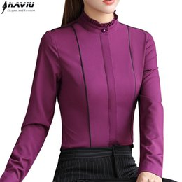 formal ladies clothes Canada - New fashion women clothing long sleeve blouses formal slim stand collar chiffon shirt office ladies plus size Patchwork tops