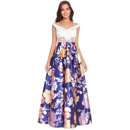 $enCountryForm.capitalKeyWord UK - Print Lace Long Prom Dresses for Women Elegant Party Evening Dress Ladies Blue Fashion Ball Gowns