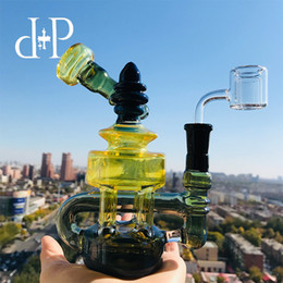 "$enCountryForm.capitalKeyWord Australia - Plus Glass Bong Water Pipe 026B Mini Tiffany Unique Black Translucent Fumed color heady art pipe with percolator 7.2"" Height 14mm Female"