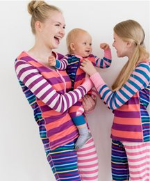 Jumpsuit matching online shopping - Splice Family Matching Outfits Collar Long Sleeve Striped Clothes Kids Elastic Patchwork Color Middle waisted Pants Baby Button Jumpsuit