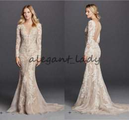 $enCountryForm.capitalKeyWord Australia - Sexy Mermaid Champagne Wedding Dresses Long Sleeve V Neck Full Lace Detail and Button Back Modest Bridal Gowns