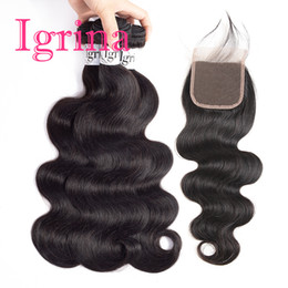 $enCountryForm.capitalKeyWord Australia - Igrina Raw Indian Body Wave Virgin Hair 3 Bundles With 4x4 Top Lace Closure 100% Unprocessed Good Cheap Weave Remy Human Hair Extensions