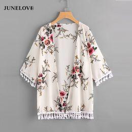 $enCountryForm.capitalKeyWord NZ - JuneLove 2018 summer v neck chiffon floral print blouse half sleeve casual shirts fashion tassel loose beach blusas blue red